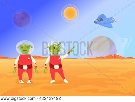 Cute Cartoon Aliens In Space Suit Flat Vector Illustration. Funny Green Newcomer Standing And Pointi