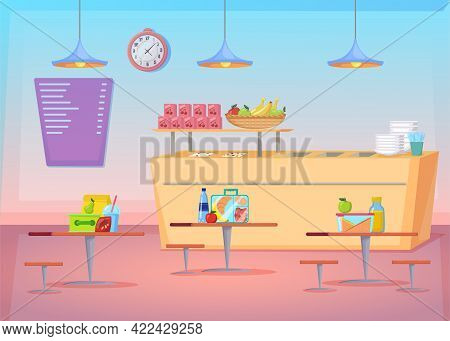 Cozy Empty Canteen Interior Cartoon Illustration. Flat Vector Picture Of Cafe Space With Healthy Foo