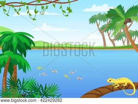 Tropical Lake Landscape Cartoon Illustration. Flat Vector Picture With Lizard Sitting On Branch Of P