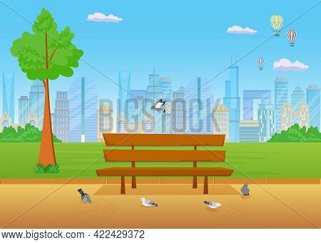 Bench In Park Flat Vector Illustration. City In Background. Cartoon Birds Flying Around Wooden Seat