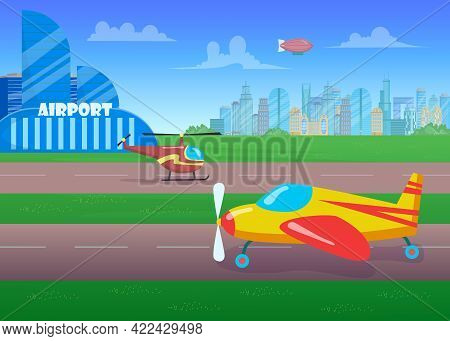 Aircrafts On Runway Flat Vector Illustration. Helicopters Before Taking Off. Side View Of Runaway. C