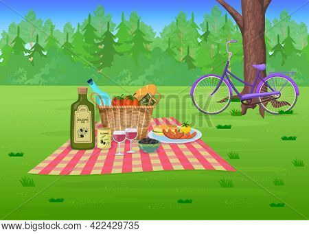 Picnic Food On Grass In Park Cartoon Illustration. Straw Basket With Olives, Wine, Sausages On Blank