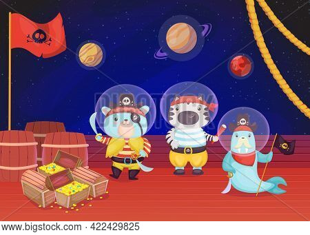 Cartoon Pirates Animals On Deck Of Ship Flat Vector Illustration. Seal And Cats Standing With Knife