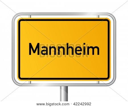 City limit sign Mannheim against white background - signage - Baden Wuerttemberg, Baden Wurttemberg, Germany