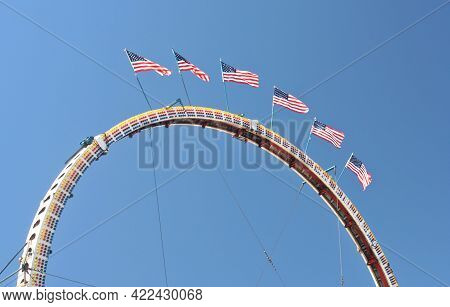 County Fair Carnival Rides With American Flags County Fair