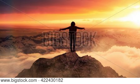 Fantasy Adventure Composite With A Woman On Top Of A Rock Cliff With Beautiful Nature In Background