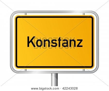 City limit sign Konstanz against white background - signage Constance - Baden Wuerttemberg, Baden Wurttemberg, Germany