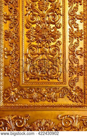 Close Up Of A Gilded Ornate Door
