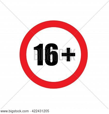 16 Plus Icon Vector Under Sixteen Years Prohibition Sign, Adults Only For Your Web Design, Logo, Inf
