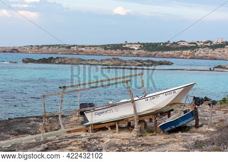Es Pujols, Formentera, Spain : 2021 June 02 : Paseo Maritimo De Es Pujols In Formentera In The Balea