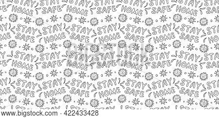 Vector Seamless Pattern With Lettering - Stay Home, Stay Safe - And Illustration Of Molecules, Cells