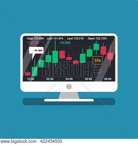 Laptop Screen With Financial Trading Graph. Trades On Financial Stock Exchange. Tradings Concept. St