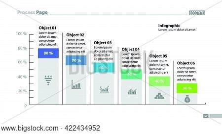 Six Columns Bar Chart Slide Template. Business Data. Percentage, Declining, Design. Creative Concept