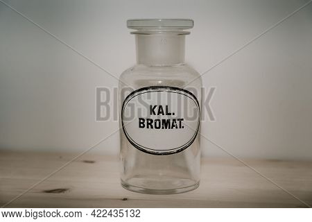 An Old White Apothecary Jar, Which Used To Be Used For Medicines