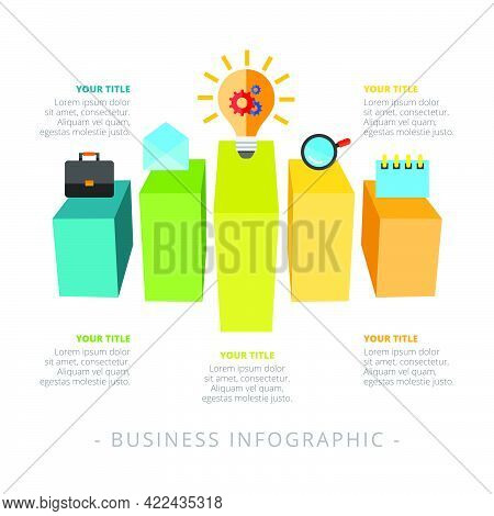 Bar Chart With Five Options. Step Diagram, Option Graph, Layout. Creative Concept For Infographics,