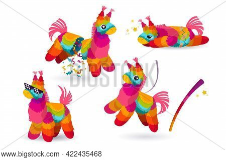 Mexican Donkey Pinata And Bat, Colorful Toys With Treats And Confetti For Child Birthday, Party Cele