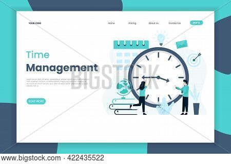 Flat Design Template Of A Time Management Landing Page With Character Of People. Business Work Time