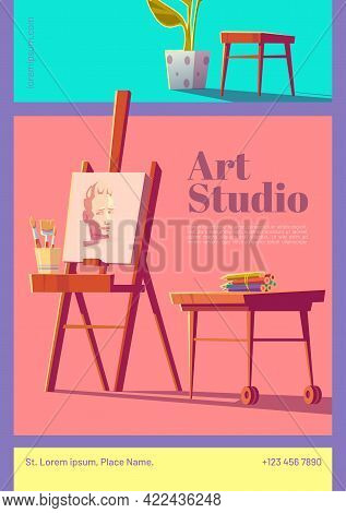 Art Studio Cartoon Flyer With Artist Stuff Canvas On Easel, Paintbrushes, Colored Pencils On Wooden