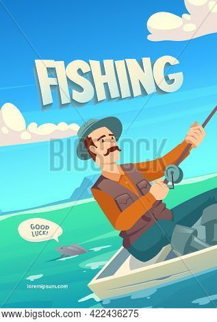 Fishing Cartoon Banner With Character In Boat With Spinning Catching Haul On Lake, Pond, River Or Se
