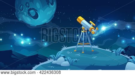 Telescope For Space Exploration, Science Discovery And Astronomy Studying. Equipment For Watching St