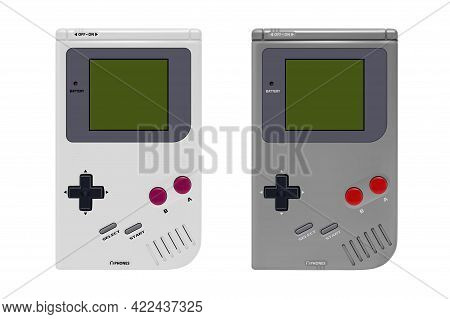 Portable Game Console In Vector On A White Background.pocket Video Game Console Vector Illustration.