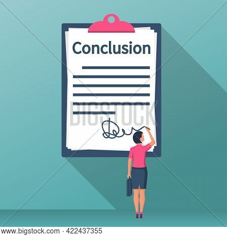 Businesswoman Writes Conclusion, Report Concept. Paperwork, Sheets In Folder. Holding The Clipboard
