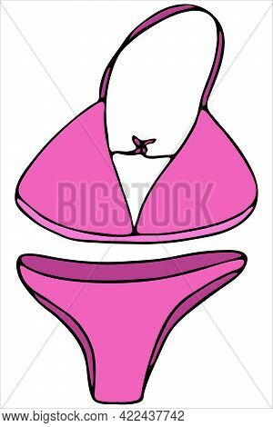 Pink Women S Beautiful Swimsuit For Swimming - Bra And Panties, Vector Color Doodle Element With Bla