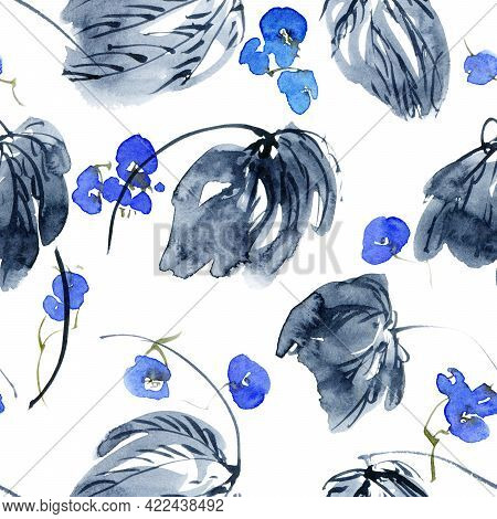 Watercolor Seamless Pattern Of Blue Flowers And Leaves. Oriental Traditional Painting In Style Sumi-