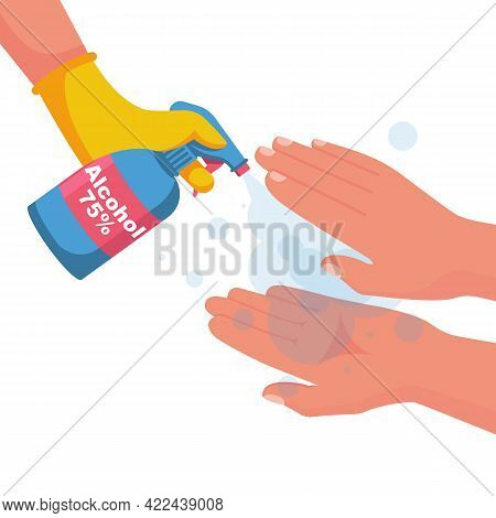 Antibacterial Spray For Hand Disinfection. Man Holds Bottle Of Antiseptic. Disinfectant Concept. Vec