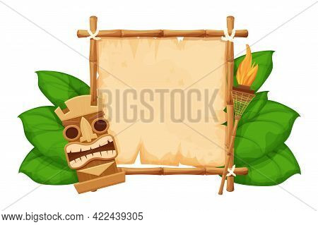 Tiki Tribal Hawaiian Mask, Statuette With Human Face On Bamboo Frame With Parchment, Torch In Cartoo