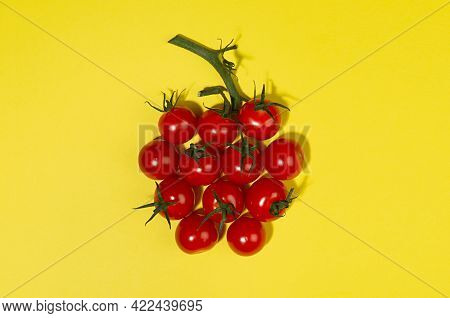 Summer Color Food Background - Red Cherry Tomatoes In Sunlight With Shadows As Berry Shape With Gree