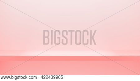 3d Rendering Minimal Modern Style Pink Shop Shelf On Wall. Interior For Product. Horizontal Empty Pi