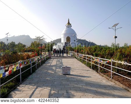 World Peace Pagoda Or Pokhara Shanti Stupa Nepalese Monument On Anadu Hill For Nepali People And For