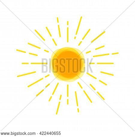 Sun Rays Icon Yellow. Silhouette Sunshine. Funny Vector Doodle Suns. Hand Drawn.