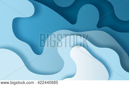 Paper Art Abstract Waves. Paper Craft Carve Background. Modern Minimal Origami Design Template. 3d P
