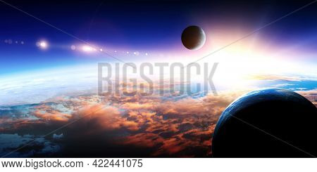 Abstract planets and space background . Mixed media