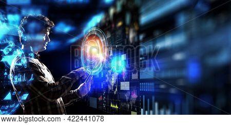 Business rythm background . Mixed media