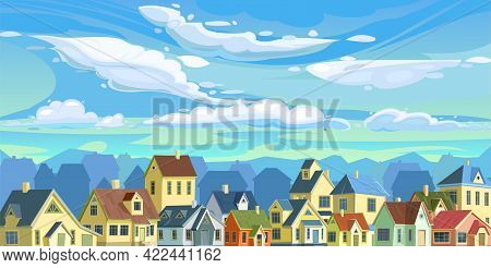 A Village Or A Small Rural Town. Small Houses. Street In A Cheerful Cartoon Flat Style. Small Cozy S