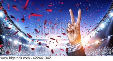 Woman hand victory sign gesture . Mixed media