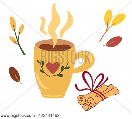 Cup Of Tea With Cinnamon Sticks. Autumn Mood. Concept For Preparing A Hot Drink, Coffee Or Cocoa Wit