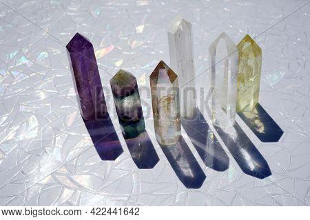 Quartz Gemstones Crystalon Light Background. Gems For Relaxation, Crystal Ritual, Witchcraft.
