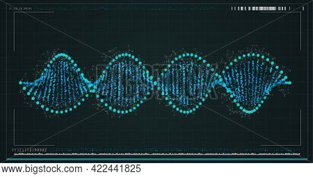 Composition of dna strand with digital interface on screen. global medicine, connections, data processing and digital interface concept digitally generated image.