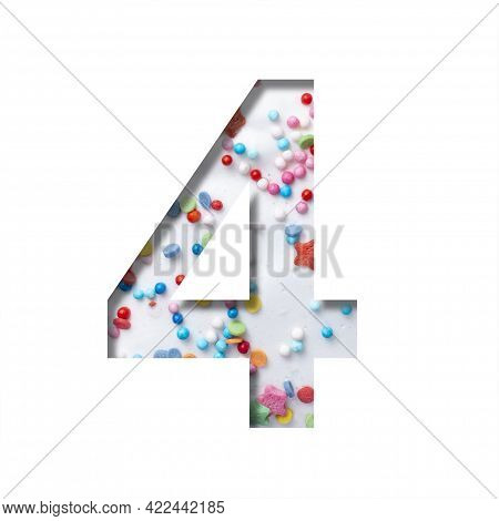 Sweet Glaze Font. Digit Four, 4 Cut Out Of Paper On The Background Of White Sweet Glaze With Colored