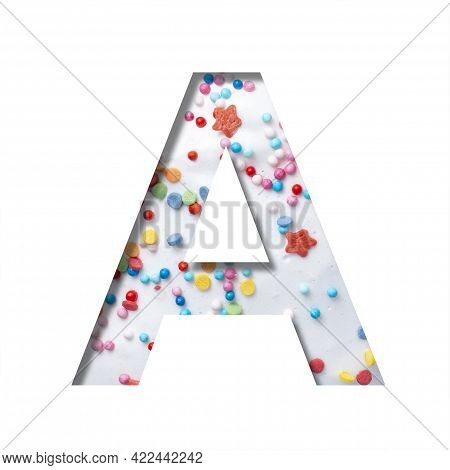Sweet Glaze Font. The Letter A Cut Out Of Paper On The Background Of White Sweet Glaze With Colored