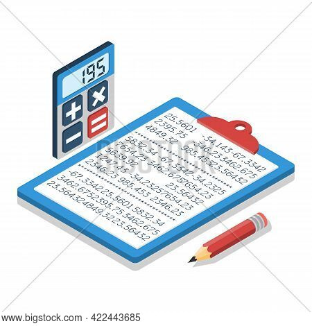Calculation Concept. Folder For Calculations With Financial Data, Calculator And Pen. Vector Isometr
