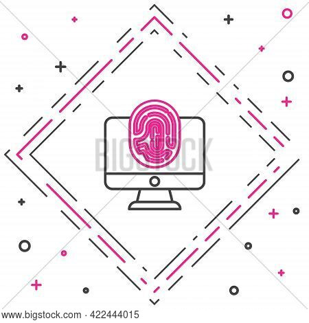 Line Monitor With Fingerprint Icon Isolated On White Background. Id App Icon. Identification Sign. T