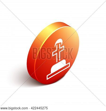 Isometric Soldier Grave Icon Isolated On White Background. Tomb Of The Unknown Soldier. Orange Circl