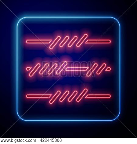 Glowing Neon Barbed Wire Icon Isolated On Blue Background. Vector