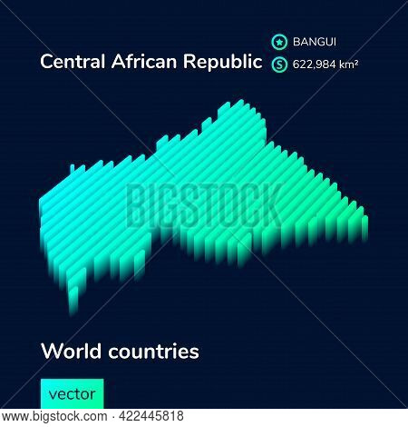 Stylized Striped Vector Map Of Central African Republic With 3d Effect. Map Of Central African Repub