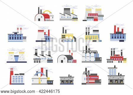 Industrial Plant And Factory Buildings With Chimney Stalk Vector Set